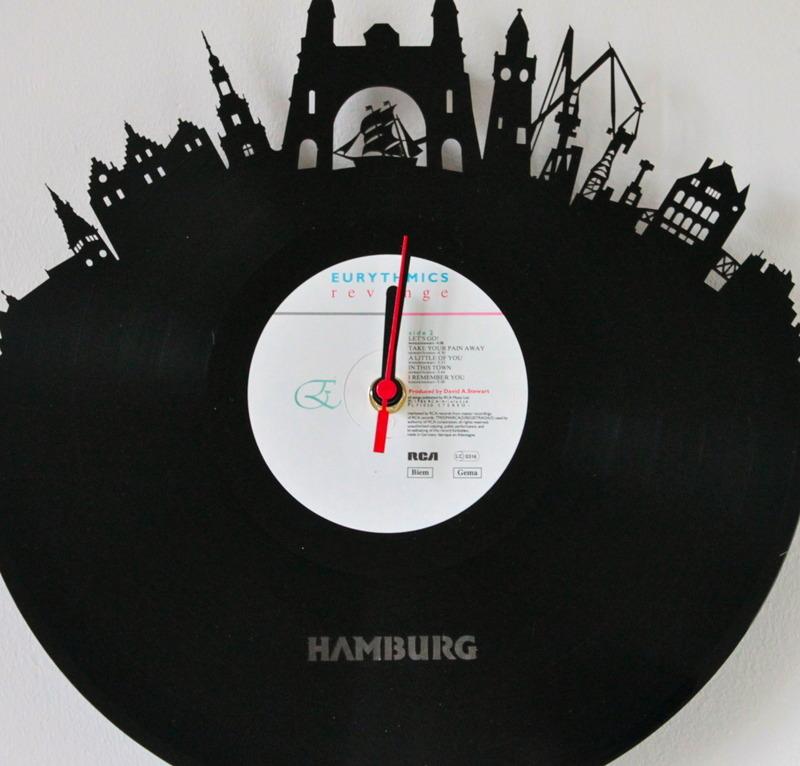 Schallplattenuhr Vinyluhr Vinyl Wanduhr aus Schallplatte - Hamburg ...