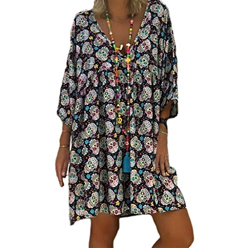 A0127 Frauen Plus Size V-Ausschnitt 3/4 Ärmel Loose Flowy T-Shirt Kleid Halloween Skull Floral Casual Flared Party Tunika Sommerkleid S-5XL von A0127