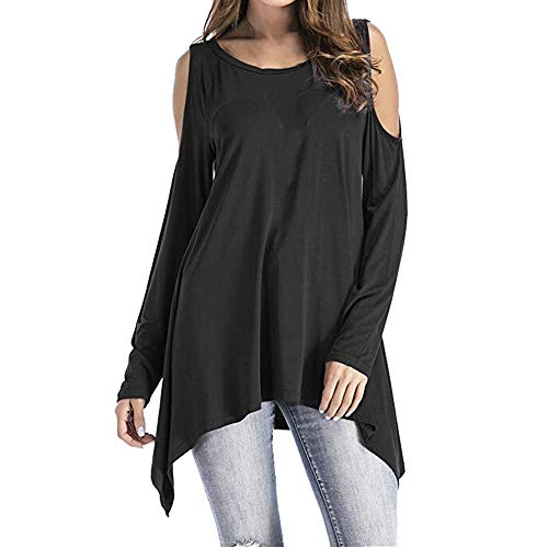 AMUSTER Damen Schulterfrei Bluse Cut Out Loose Fit Top T-Shirt Mode Frauen Langarm O-Ausschnitt Kalte Schulter Swing Asymmetrische Tunika Tops von AMUSTER