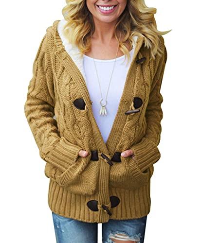 Damen Strickjacke feiXIANG Loose Lange /Ärmel Outwear mit V-Ausschnitt Cardigan Stricken Mantel Pullover top
