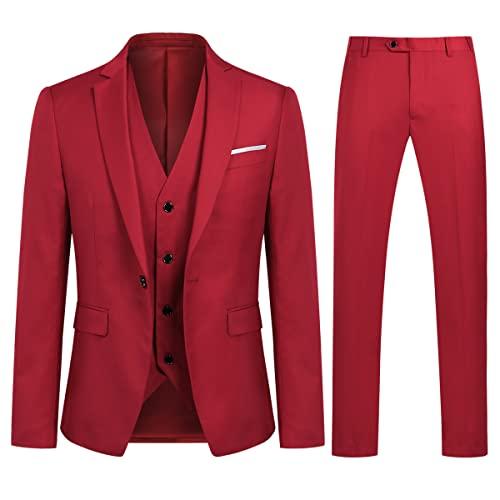 7d2a64f78795 Allthemen Herren 3-Teilig Slim Fit Anzug Smoking Anzugjacke Hose Weste Rot  Medium von Allthemen