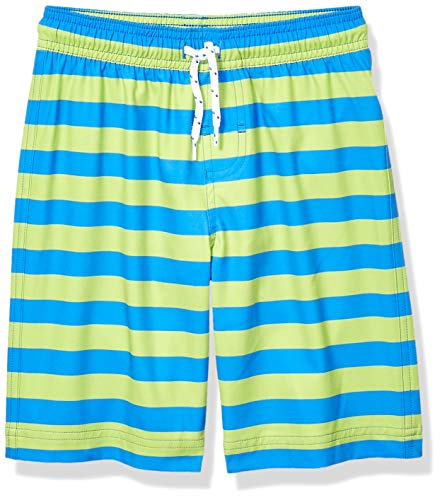 Amazon Essentials Jungen Badehose, Blue & Green Stripe, US M (EU 128 CM) von Amazon Essentials