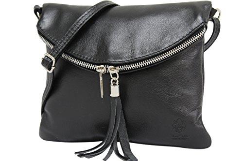 89cea01bed234 AMBRA Moda Italienische Ledertasche Schultertasche Crossover Umhängetasche  Nappaleder Damen Kleine Tasche NL610 (Schwarz) von