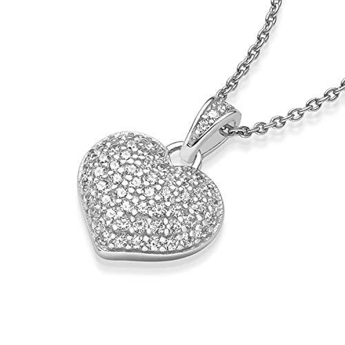 8050146da45f Herzkette Silber 925 Kette Zirkonia Stein Damen +GRATIS Etui mit Gravur Echt  Echtsilber Herzanhänger Herzchenkette