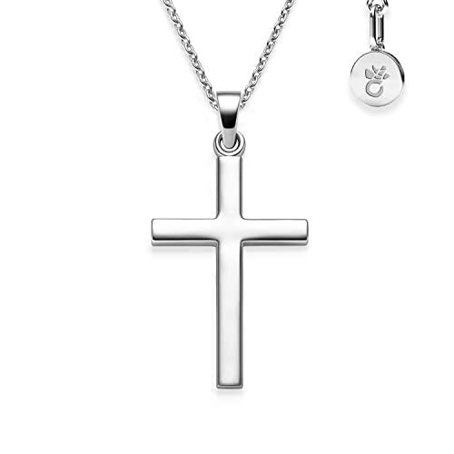 Kinder Baby Taufe Kreuz Anhänger Weißgold Echt Gold 333 mit Kette Silber 925