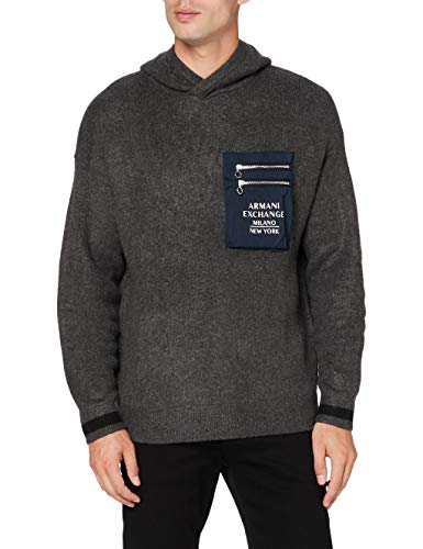 Armani Exchange Mens Pullover Sweater, Charcoal Grey Black, L von Armani Exchange