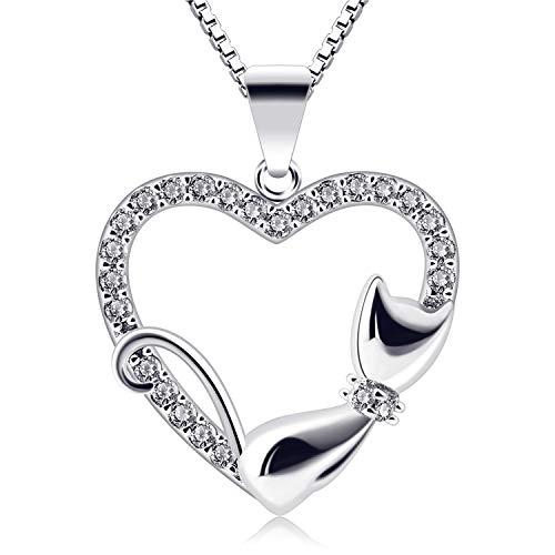 B.Catcher Kette Herz Damen Halskette Katze 925 Sterling Silber Schmuck  Weihnachtengeschenk 45CM Kettenlänge für 310ced7276