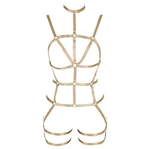 Damen Body Harness BH Strumpfband Gürtel Full Cage Set Gothic Punk Pentagramm Brustgurt Plus Size Dance Halloween Rave (Gelb) von BANSSGOTH