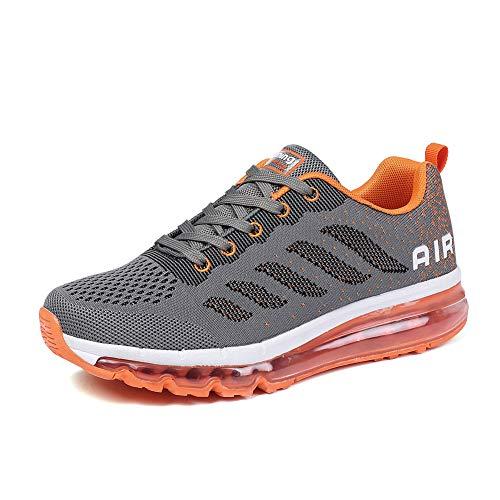BETY Herren Damen Sportschuhe Laufschuhe mit Luftpolster Turnschuhe Profilsohle Sneakers Leichte Schuhe Gray Orange 37 tl8tnDSo