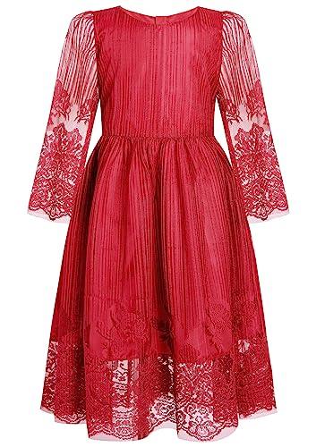 BONNY BILLY M/ädchen Kleider T/üll Festlich Hochzeit Taufe Applikationen Kurzarm Kinder Kleid mit Tasche