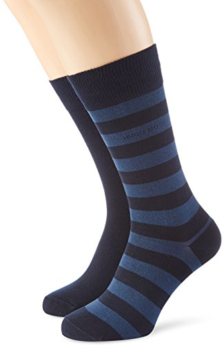 """BOSS Hugo Boss Herren Sneakersocken Twopack Block Stripe, Gr. 39/42, Blau (Dark Blue 401)"" von BOSS Hugo Boss"