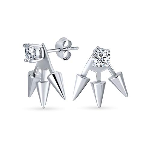 Bling Jewelry Sterling Silber moderne Spike CZ Ohrring Jacken Rhodiniert von Bling Jewelry