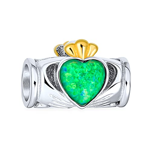 Claddaugh Perle Charme Irish Heart Crown Green Opal 925 Silber Erstellt von Bling Jewelry