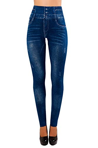 Bongual Damen Jeggings High Waist Leggings Hochbund Jeansoptik Zöpfe von Bongual
