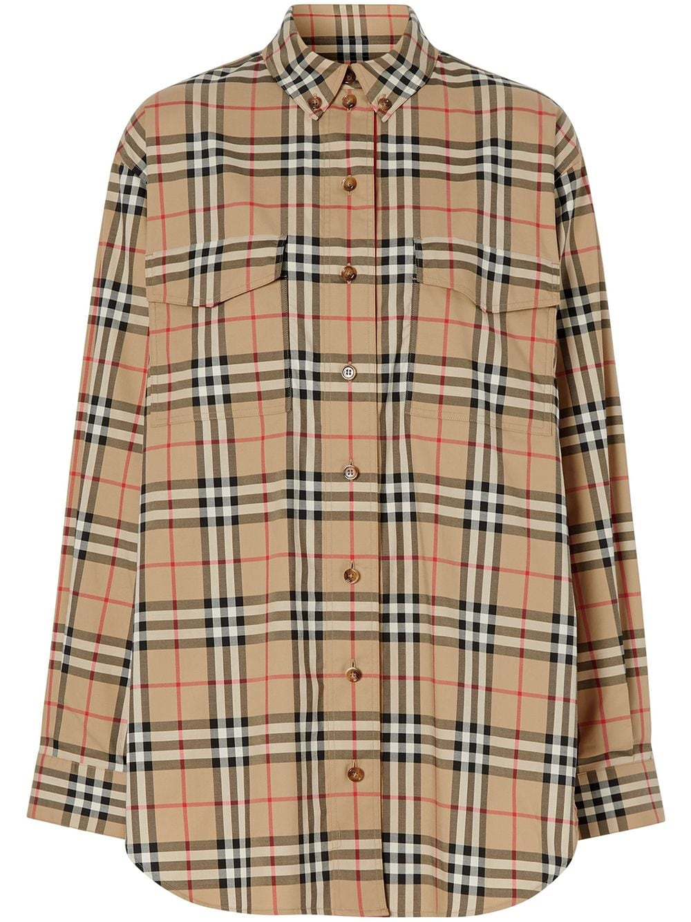 Burberry Vintage Check Stretch Cotton Oversized Shirt - Nude von Burberry