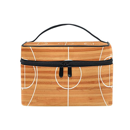 coosun Basketball Court Boden Plan Kosmetiktasche Leinwand Reise Kulturbeutel Top Griff Single Layer Kosmetiktasche Organizer Multifunktions-Kosmetiktasche für Frauen von COOSUN