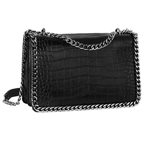 823c8018e028b CRAZYCHIC - Damen Kette Umhängetasche - Schlange Leder Gesteppte Klappe  Schultertasche - Python Steppmuster Abendtasche Pochette