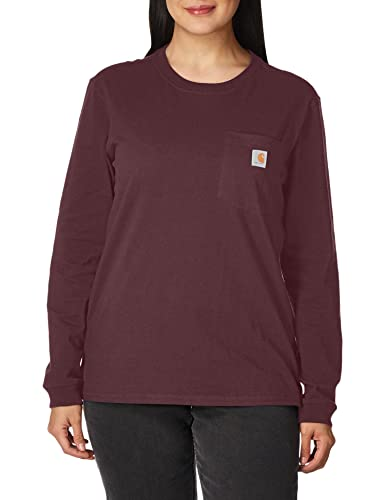 Carhartt Womens Workwear Pocket Long-Sleeve T-Shirts, Deep Wine, S von Carhartt
