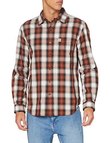 Carhartt Herren Long-Sleeve Essential Open Collar Plaid Shirt, Sequoia, S von Carhartt