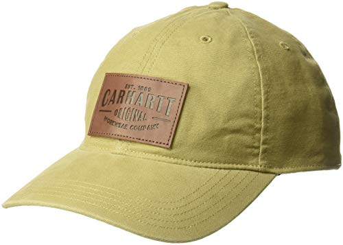 Carhartt Unisex-Adult Rigby Stretch Fit Leatherette Patch Baseball Cap, Dark Khaki, L/XL von Carhartt