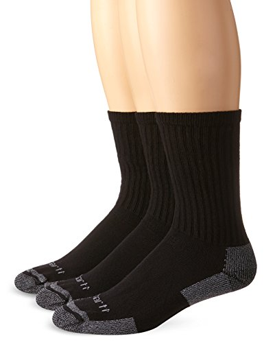 Carhartt Herren All Season Cotton Crew Work (3-Pair) Sock, Black, M (3er Pack) von Carhartt