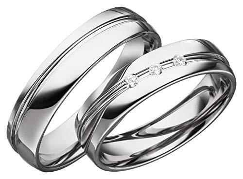 2x 925 Silber Trauringe Verlobungsringe PAARPREIS mit BRILLANT Eheringe Gravur