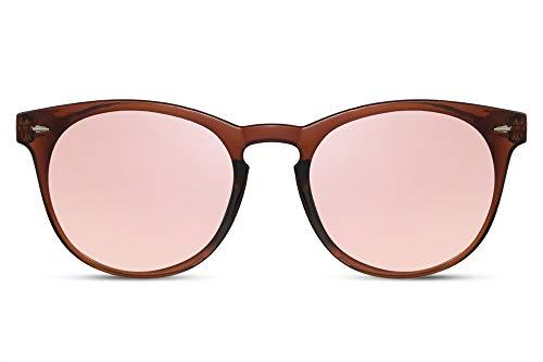 2e5b8abea4c325 Cheapass Sonnenbrille Rund Braun Pink Verspiegelt UV-400 Exklusive Designer- Brille Hipster Plastik Damen