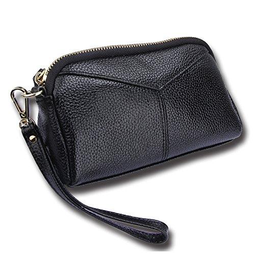 a89d78c315255 Cheerlife Damen Echt Leder Clutch Tasche Handtasche Abendtasche Handy  Geldbeutel Handgelenktaschen mit Reißverschluss (Schwarz)