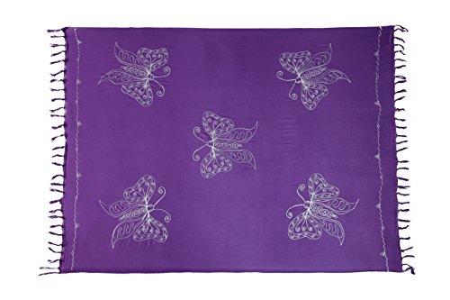 Sarong Pareo Wickelrock Lunghi Stickerei Schmetterling Tuch Orange Handtuch