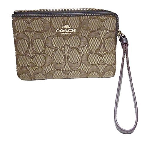 Coach F58033 Signature Corner Zip Wristlet Khaki/Brown von Coach