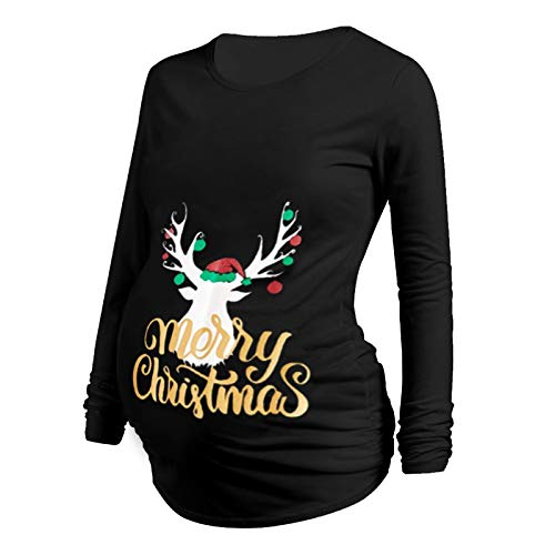 Cocila Damen Christmas Maternity Long Sleeve Drucken Cartoon Printed T-Shirt Tops Pregnancy Blouse Geraffte Umstandsshirt Umstandstop Umstandsmode Schwangerschaft Weihnachten (X-Schwarz-2, L) von Cocila