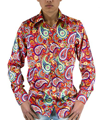Hemd 70er Jahre Indian Paisley Muster lila bunt