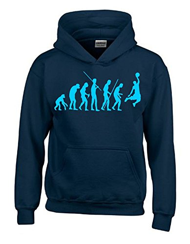 BASKETBALL Evolution Kinder Sweatshirt mit Kapuze HOODIE navy-sky, Gr.152cm von Coole-Fun-T-Shirts
