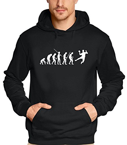 Coole-Fun-T-Shirts Sweatshirt HANDBALL Evolution ! Hoodie, schwarz, XXL, 10649_schwarz-HOO_GR.XXL von Coole-Fun-T-Shirts