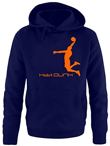 Habt DUNK Basketball Slam Dunkin Kinder Sweatshirt mit Kapuze HOODIE navy-orange, Gr.128cm von Coole-Fun-T-Shirts
