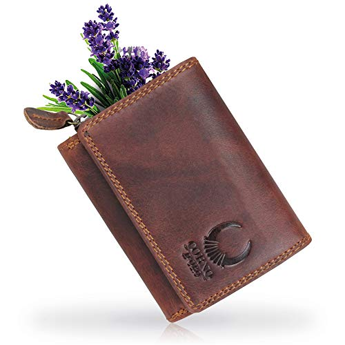 ac6dacf50d8c2 Kleine Damen Leder Geldbörse schlanker Geldbeutel mit RFID Schutz TÜV  geprüft Mini Herren Portmonee
