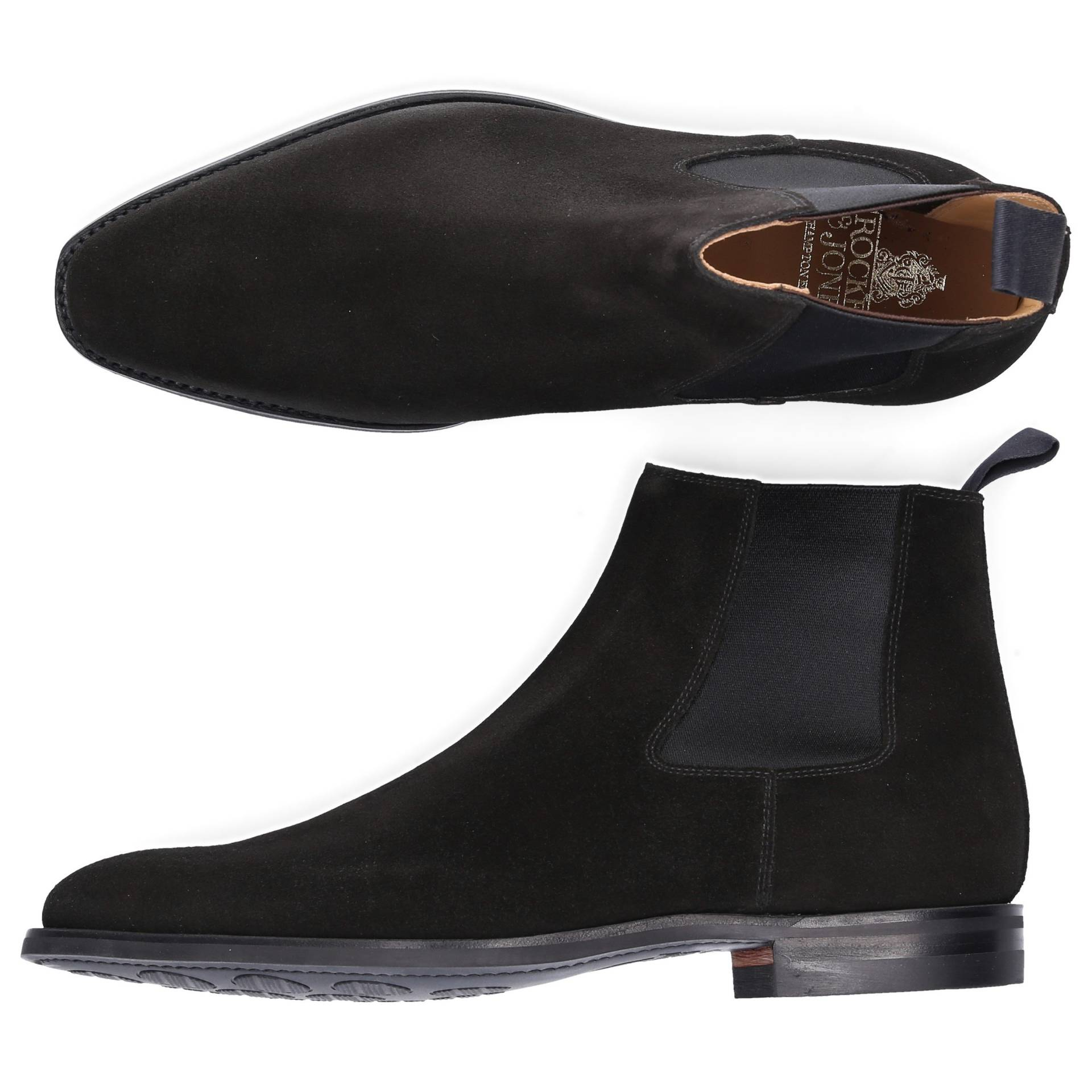 Crockett & Jones Chelsea Boots Kalbsleder  Veloursleder schwarz von Crockett & Jones