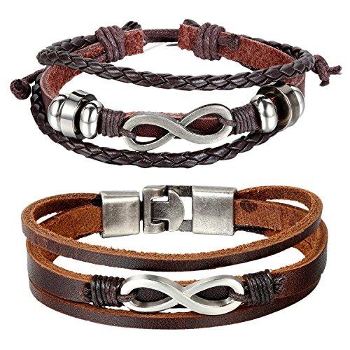 1X Legierung Leder Hanf Armband Manschette Wrap Vintage Armband Verstellbar GY