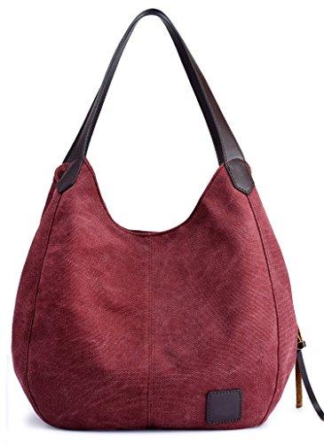 2ff35d3fbf18b3 DCCN Canvas Tasche Damen Shopper Bag Handtasche Hobo Bag Weinrot von DCCN