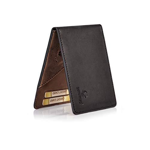 b7d4bbd91dc86 Donbolso Geldbörse Madrid Leder Herren Mini Geldbeutel mit RFID-Schutz Slim Wallet  Männer Schwarz-