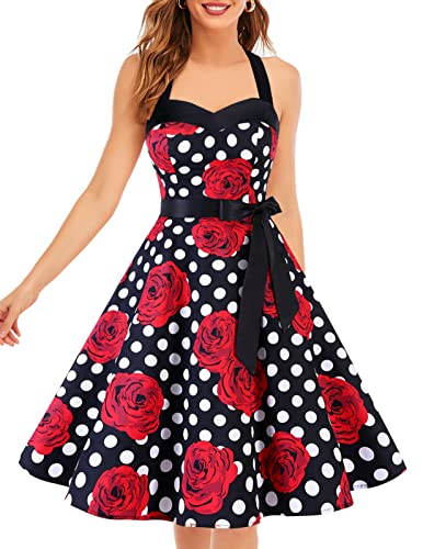 DRESSTELLS Neckholder Rockabilly 1950er Polka Dots Punkte Vintage Retro Cocktailkleid Petticoat Faltenrock Black Red Rose Dot 3XL von DRESSTELLS