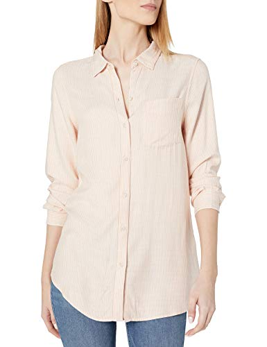 Amazon Brand - Daily Ritual Women's Soft Rayon Slub Twill Long-Sleeve Button-Front Tunic, Clay/White Ministripe , Large von Daily Ritual