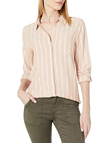 Amazon Brand - Daily Ritual Women's Soft Rayon Slub Twill Long-Sleeve Button-Front Tunic, Clay Awning Stripe , Large von Daily Ritual