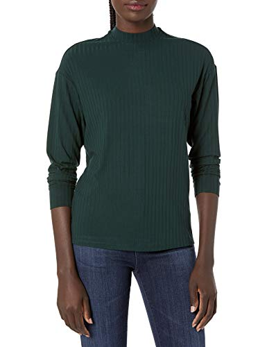 Daily Ritual Rayon Spandex Wide Rib Drop Sleeve Mock Neck Shirts, moosgrün, US L (EU L - XL) von Daily Ritual