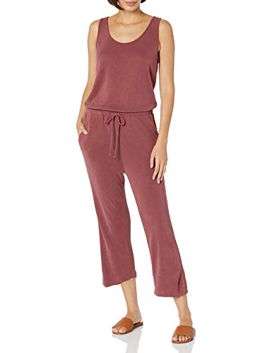 Daily Ritual Sandwashed Modal Blend Sleeveless Wide-Leg Cropped Jumpsuits-Apparel, Korallenrot, US L (EU L - XL) von Daily Ritual
