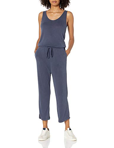 Daily Ritual Sandwashed Modal Blend Sleeveless Wide-Leg Cropped Jumpsuits-Apparel, Navy, US M (EU M - L) von Daily Ritual
