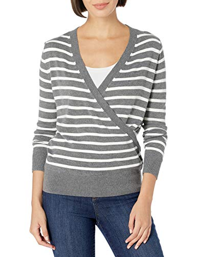 Daily Ritual Ultra-Soft Wrap Ballet Sweater Pullover-Sweaters, Charcoal/White Stripe, US S (EU S - M) von Daily Ritual