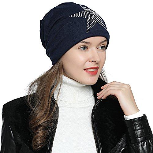 a653a099ee7daa DonDon Damen Mütze Wintermütze mit Strass Stern gefüttert dunkelblau von  DonDon