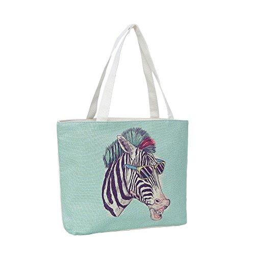 96f48cb4d114f Strandtasche 46 x 32 x 10 cm Motiv Funky Zebra mintfarben-Jute Shopper  Schultertasche Vintage