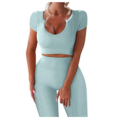 Damen Workout Set 2 Teile, Dorical Trainingsanzug Fitness Yoga Set Ribbed Stretchy Sportanzug Top + Leggings Sportwear Yoga Outfits Jogging Gym Sportkleidung Fitnessanzug von Dorical Dress